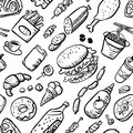 Seamless pattern with fast food products