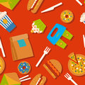 Seamless pattern with fast food symbols. Menu background Royalty Free Stock Photo