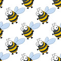 Seamless pattern of fat little honey bees cute or bumble with striped bodies in repeat diagonal rows suitable for print or Stock Image