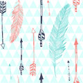 Seamless pattern with feather and arrows Royalty Free Stock Photo