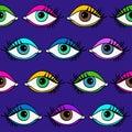 Seamless Pattern Of Female Eyes.