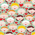 Seamless pattern with female faces and hearts cute vector illustration Stock Photography