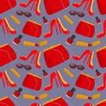 Seamless pattern with fashion accessories: women`s handbag, lipstick, shoes, sunglasses and nail polish Royalty Free Stock Photo