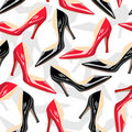 Seamless pattern with female shoes Royalty Free Stock Photos
