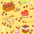 Seamless pattern. Festive cakes, marshmallows, croissants, strawberry candies, cherries. Suitable for wallpaper in the kitchen.