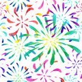 Seamless pattern fireworks watercolor.