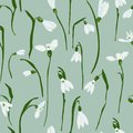 Vector seamless pattern with snowdrops