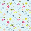 Seamless Pattern with Fish. Cute Childish Background for Fabric, Decor, Wallpaper, Wrapping Paper. Underwater Creatures
