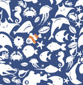 Seamless pattern of fish lots fishes in for wallpaper fabric Stock Photography