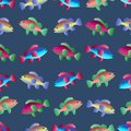 Seamless pattern with fish swimming in the sea