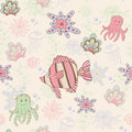 Seamless pattern with fish vector and octopus Stock Photos