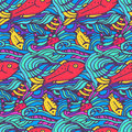 Seamless pattern with fishes in doodle style vector illustration Royalty Free Stock Image