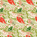 Seamless pattern with fishes in doodle style vector illustration Stock Photos