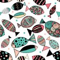 Seamless pattern with fishes. Funny fish outline art
