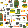 Seamless pattern with fishing supplies. Background made without clipping mask. Easy to use for backdrop, textile Royalty Free Stock Photo