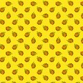 Seamless pattern with flame and hot on a yellow polka dot background. Pop art style