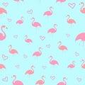 Seamless pattern flamingo bird with heart vector Royalty Free Stock Photo