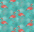 Seamless Pattern with Flamingo Birds and Tropical Leaves Royalty Free Stock Photo