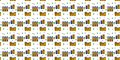 Seamless pattern. Flat houses, trees, clouds, sun on a white background.