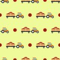 Seamless pattern with flat yellow tractor with a cart tomato.