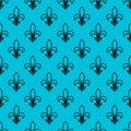 Seamless pattern. Fleur de lis. Linear graphics. Geometric symmetrical drawing. Blue background. Royalty Free Stock Photo