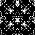 Seamless pattern. Fleur de lis. Linear graphics. Geometric symmetrical drawing. Black background. Royalty Free Stock Photo