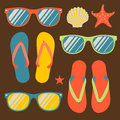 Seamless pattern with flip flops and sunglasses vector eps image Royalty Free Stock Photography