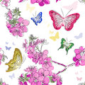 Seamless pattern with floral background with butte vector butterflies Stock Photo