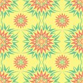 Seamless pattern with floral design. Bright yellow background with pink and green flower elements