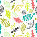 Seamless pattern with floral elements and leaves.  Vector abstract background. Royalty Free Stock Photo