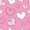 Seamless pattern with floral hearts hand drawn on a pink background Royalty Free Stock Photos