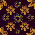 Floral image in gold and blue, in a plane black background, vintage image, seamless pattern