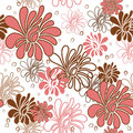 Seamless pattern floral with pink flowers on the white background Stock Photography