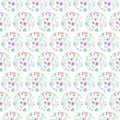 Seamless pattern of floral watercolor circles