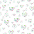 Seamless pattern of floral watercolor circles and hearts