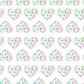 Seamless pattern of floral watercolor hearts