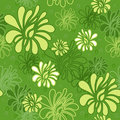 Seamless pattern floral with yellow flower on the green background Stock Photo