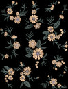 Seamless pattern of flovers on a black background. Imitation embroidery.