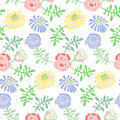 Seamless pattern flower background in doodle style vector illustration Royalty Free Stock Image