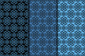 Seamless pattern with flower element. Black and blue collection