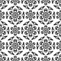 Seamless pattern with flower element. Black and white abstract wallpaper