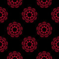 Seamless pattern with flower element. Red and black abstract wallpaper