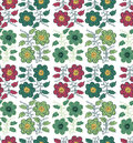 Seamless pattern flower in ethnic style on a white background. Royalty Free Stock Photo