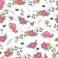 Seamless pattern flower field with butterfly and bee
