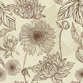 Seamless pattern  flower and leaf in retro style Stock Images