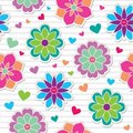 Seamless pattern of flower stickers Stock Photo
