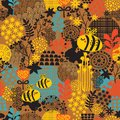 Seamless pattern with flowers and bees vector artistic background Stock Photography