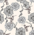 Seamless pattern with flowers and birds Stock Photo