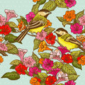 Seamless Pattern - Flowers and  Birds