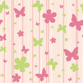 Seamless pattern with flowers and butterflies Royalty Free Stock Photo